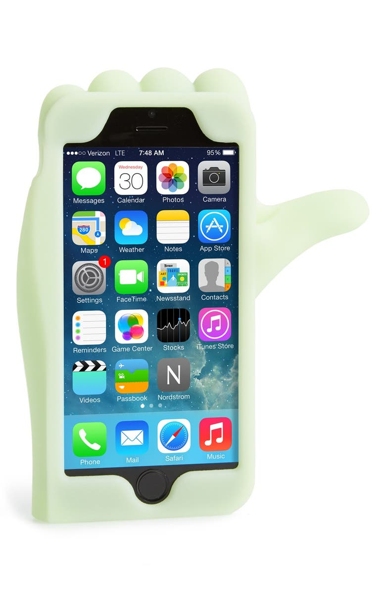 MARC JACOBS MARC BY MARC JACOBS 'Thumbs Up' Glow in the Dark iPhone 6 Case, Main, color, 100