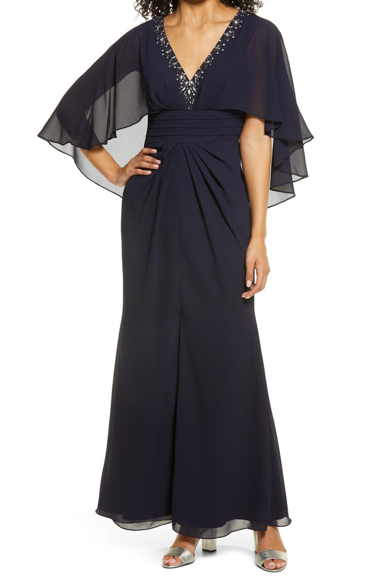 VINCE CAMUTO Beaded Neckline Capelet Gown, Main, color, NAVY