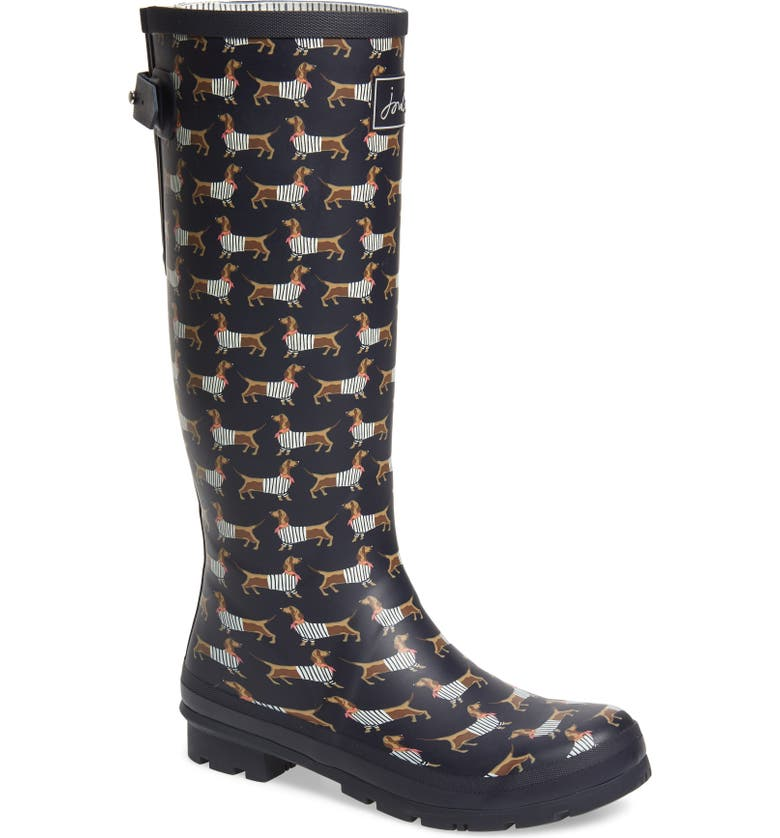 JOULES 'Welly' Print Rain Boot, Main, color, NAVY SAUSAGE DOG