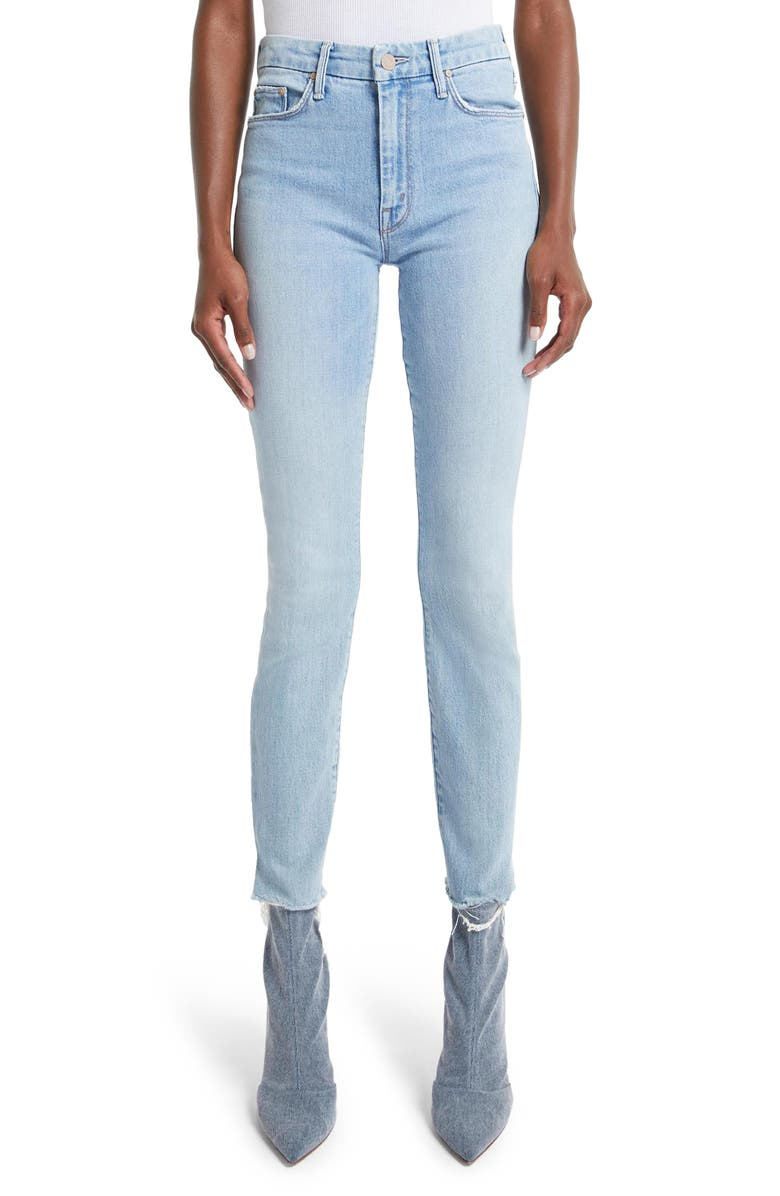 MOTHER The Looker High Waist Frayed Skinny Jeans, Main, color, 450