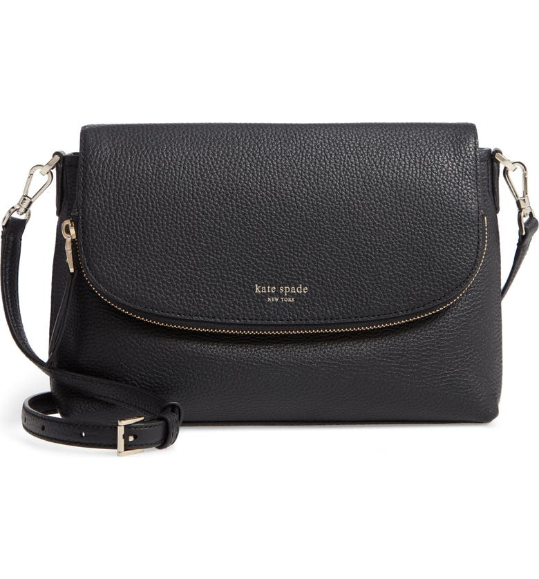 KATE SPADE NEW YORK large polly leather crossbody bag, Main, color, 001
