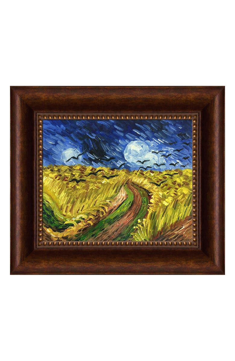 """OVERSTOCK ART Wheat Field With Crows by Vincent Van Gogh Framed Hand Painted Oil Reproduction - 14"""" x 12"""", Main, color, MULTI"""