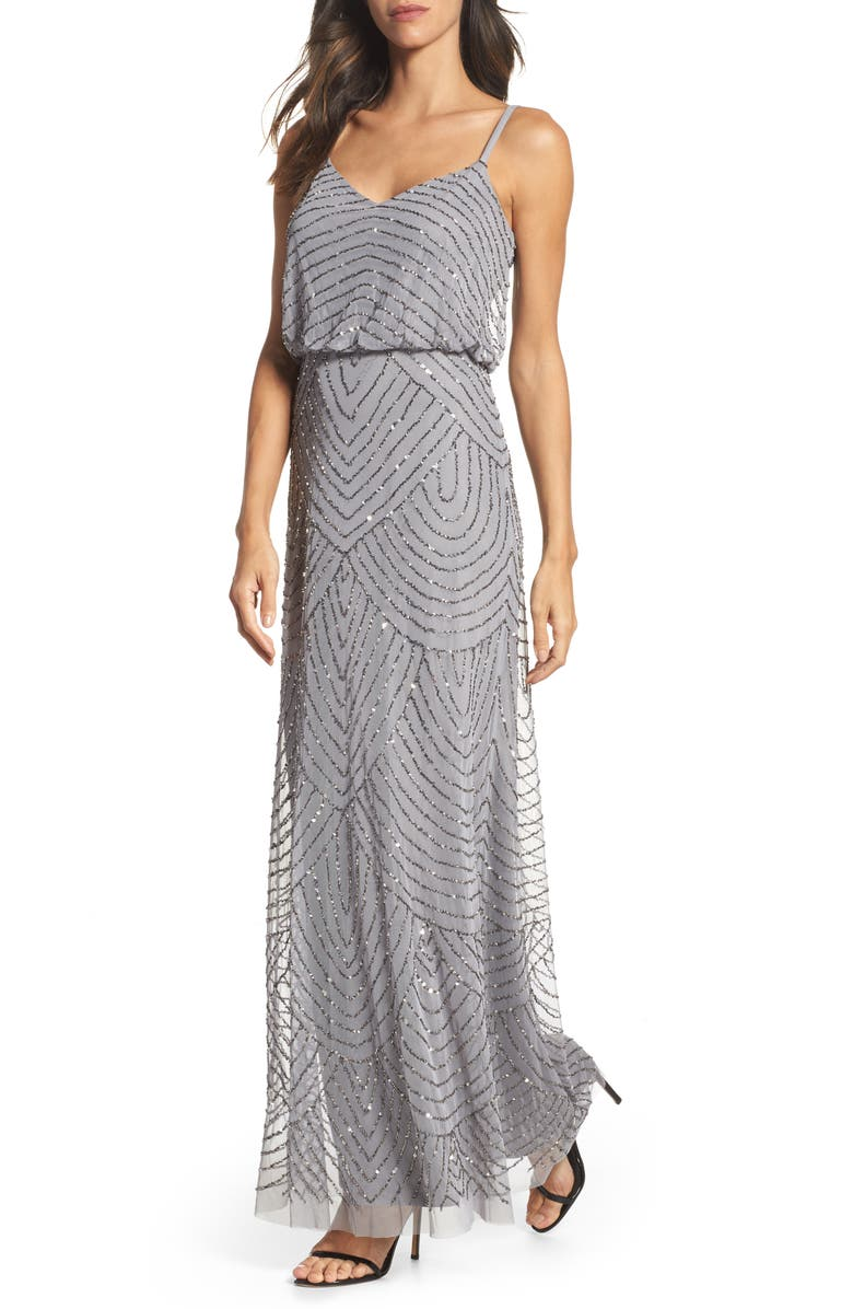 ADRIANNA PAPELL Embellished Blouson Gown, Main, color, SILVER GRAY