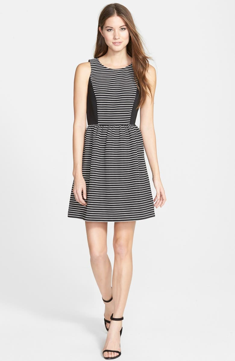 KENSIE Stripe Ribbed Fit & Flare Dress, Main, color, 008