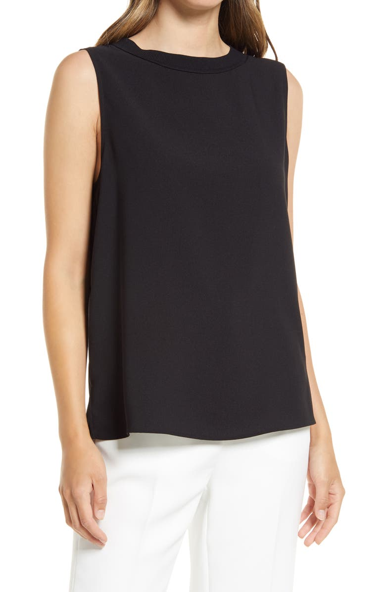 NORDSTROM Pleat Back Sleeveless Woven Top, Main, color, BLACK