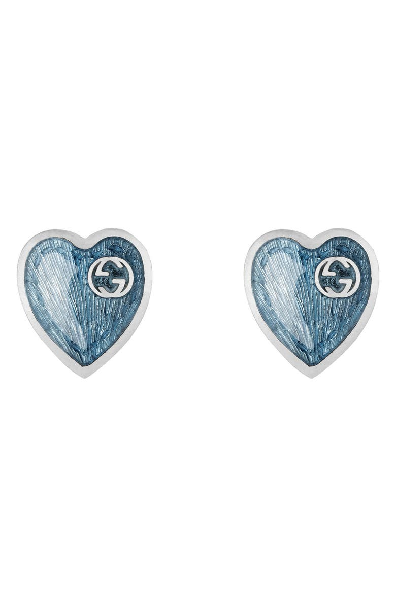 GUCCI Extra Small Interlocking-G Blue Heart Stud Earrings, Main, color, 041