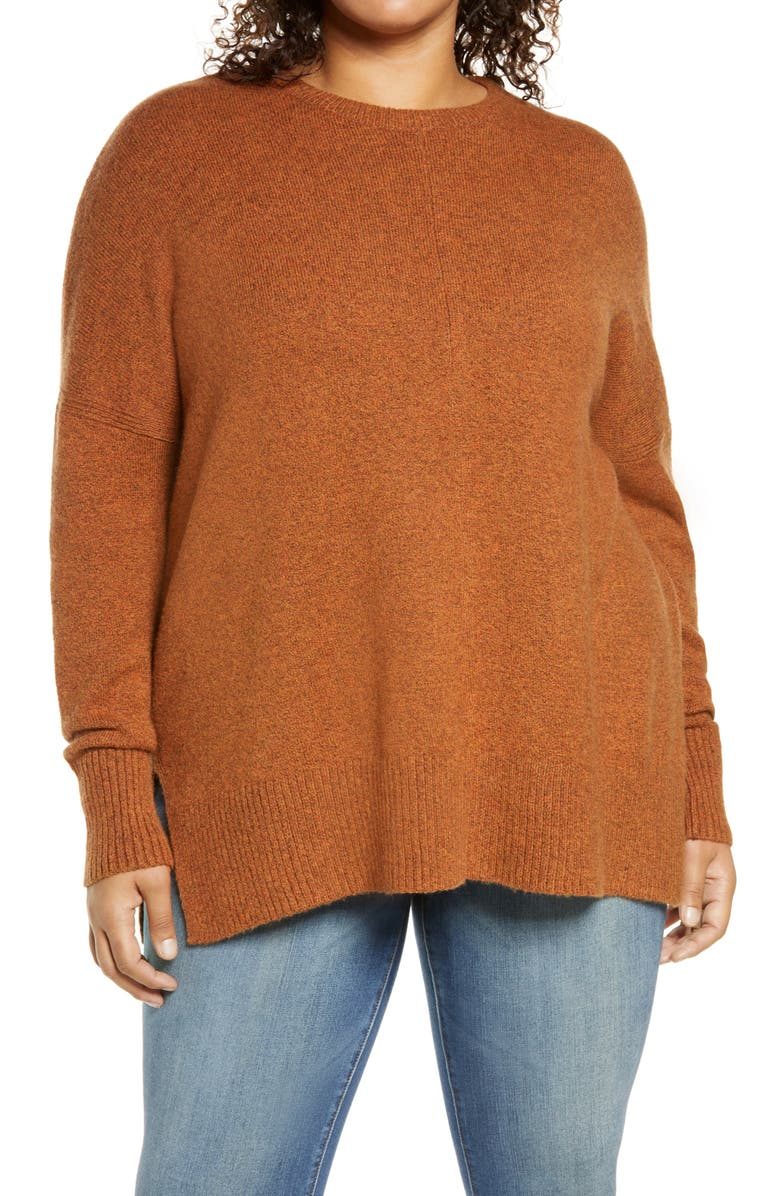 TREASURE & BOND Crewneck Pullover, Main, color, RUST LEATHER