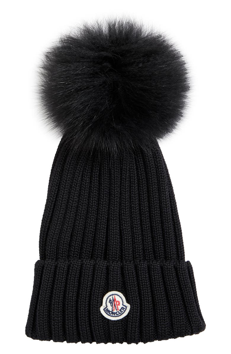 MONCLER Rib Wool Hat with Genuine Fox Fur Pom, Main, color, 001