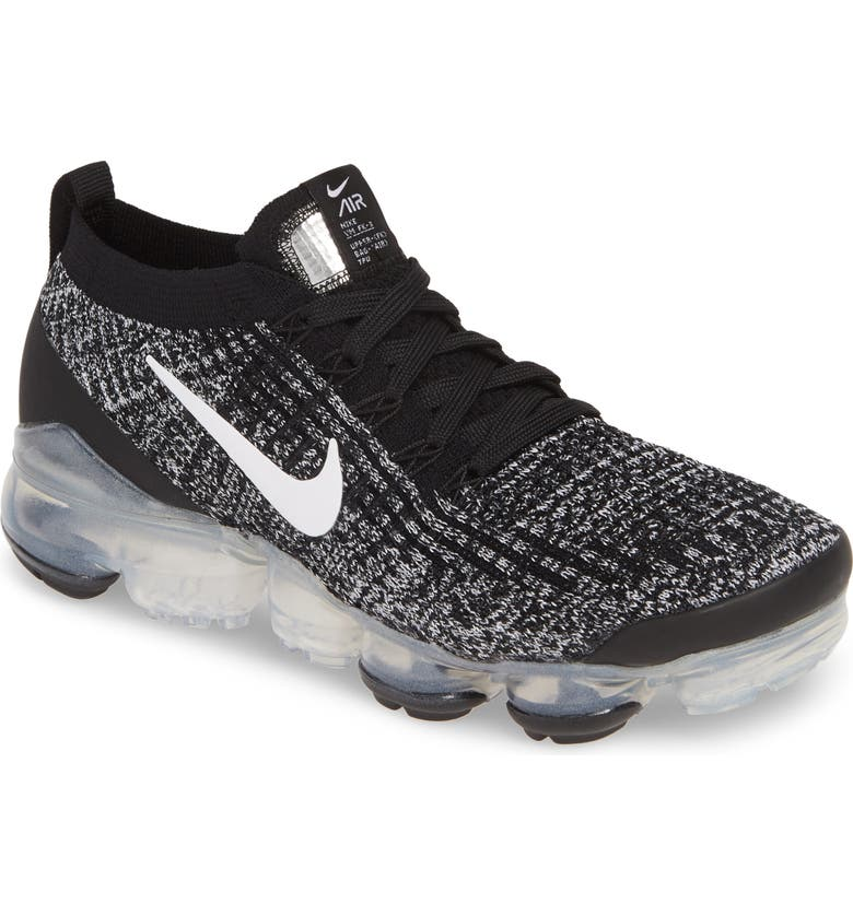 NIKE Air VaporMax Flyknit 3 Sneaker, Main, color, BLACK/ WHITE/ METALLIC SILVER