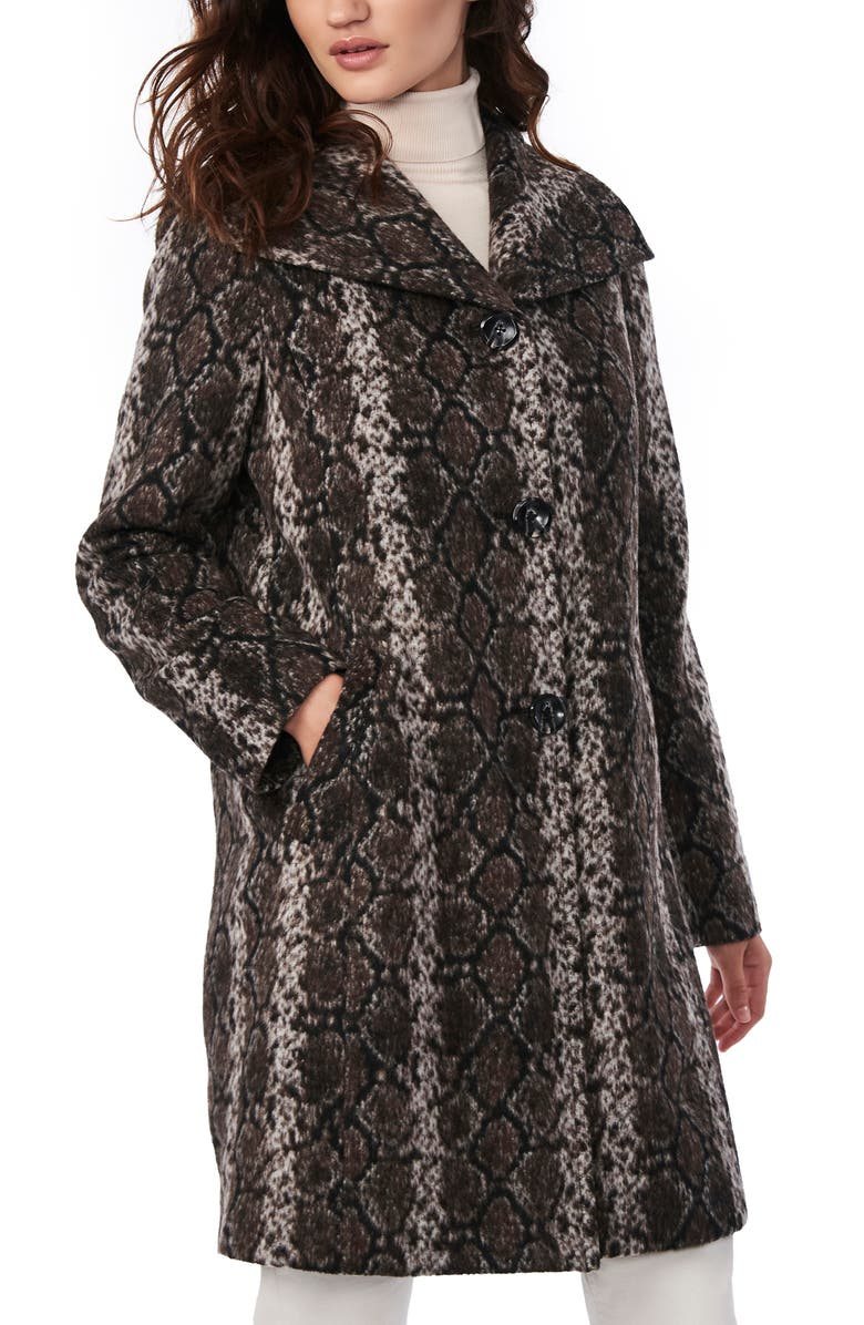 BERNARDO Snakeskin Print Coat, Main, color, 250