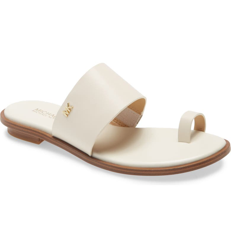 MICHAEL MICHAEL KORS August Slide Sandal, Main, color, LIGHT CREAM LEATHER