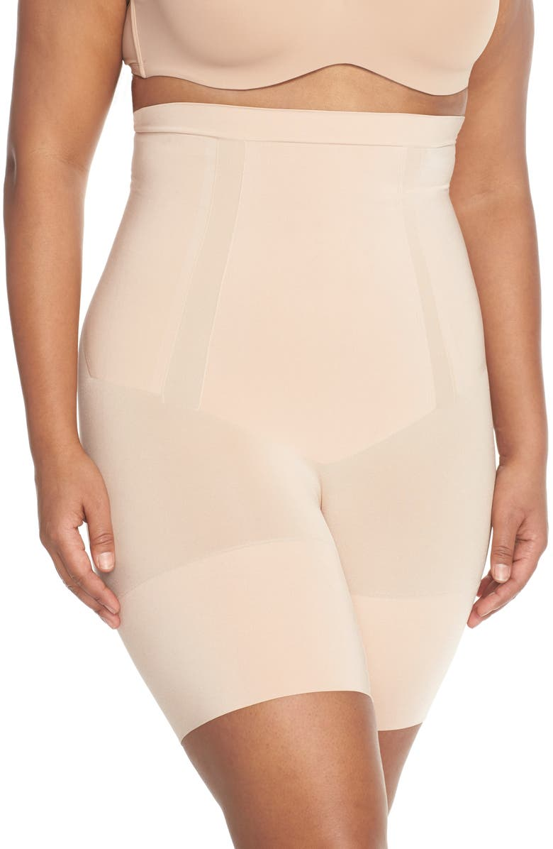 SPANX<SUP>®</SUP> OnCore High Waist Mid Thigh Shaper Shorts, Main, color, SOFT NUDE