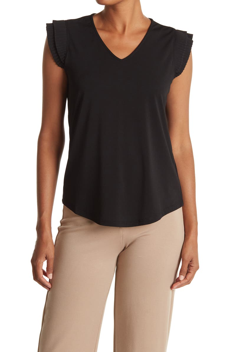 ADRIANNA PAPELL V-Neck Double Pleated Sleeve Moss Crepe Top, Main, color, BLACK