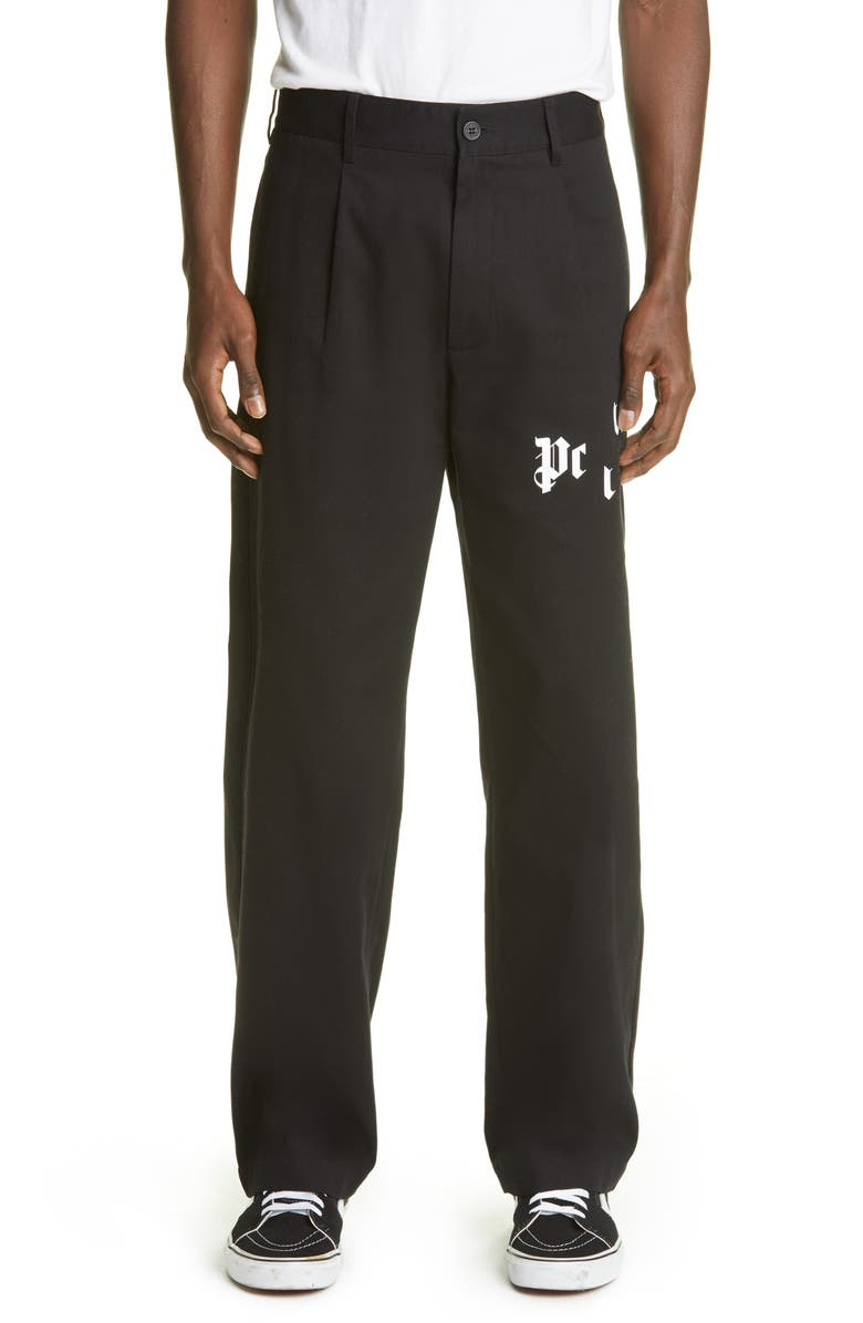 PALM ANGELS Broken Logo Chino Pants, Main, color, BLACK/ WHITE