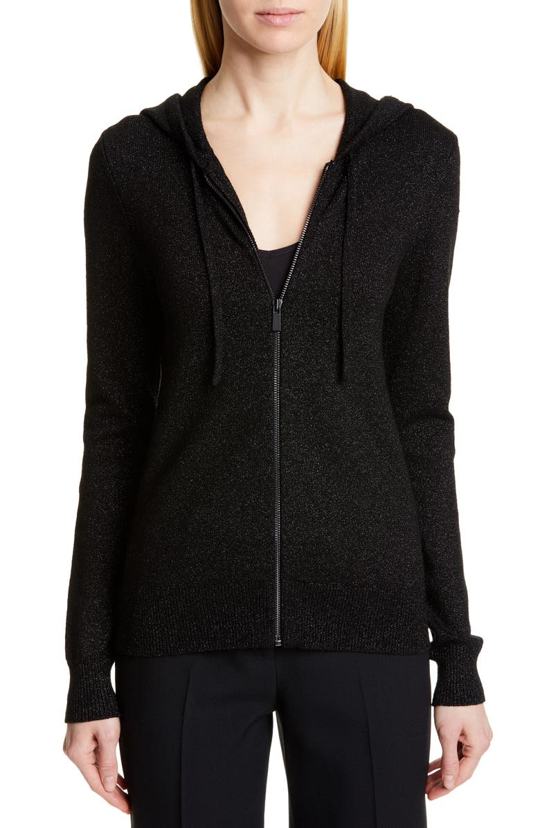 MICHAEL KORS COLLECTION Metallic Hooded Sweater, Main, color, 001