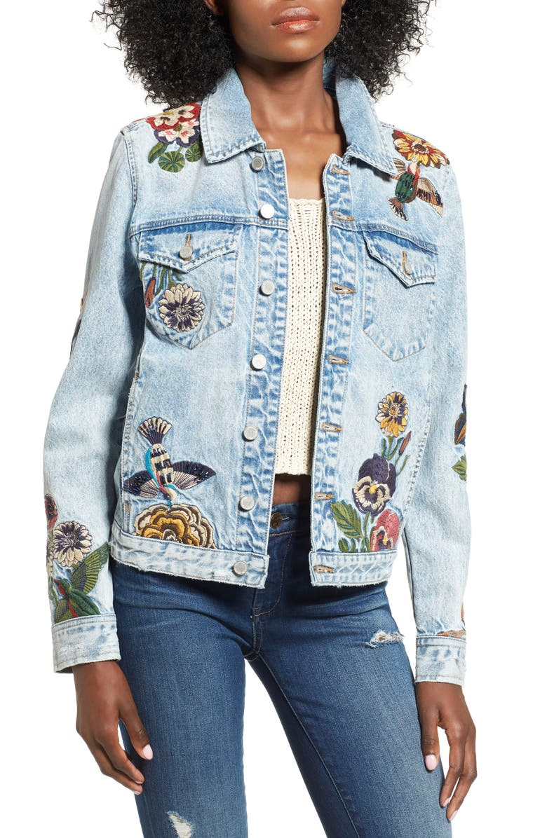 BLANKNYC Embroidered Denim Jacket, Main, color, 400