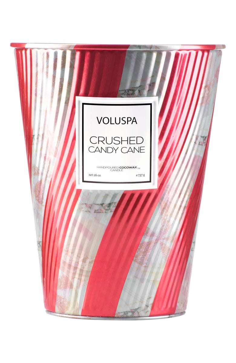 VOLUSPA Crushed Candy Cane Giant Ice Cream Cone Table Candle, Main, color, 000