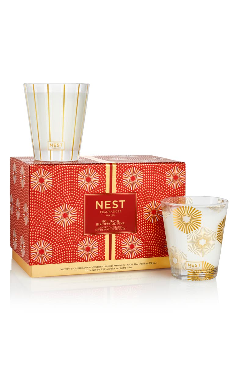 NEST NEW YORK NEST Fragrances Holiday & Birchwood Pine Classic Candle Duo, Main, color, 000