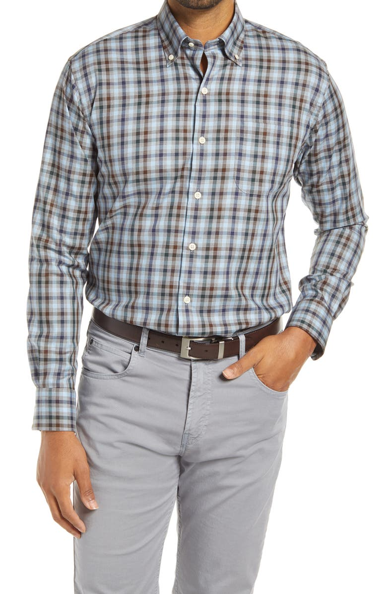 PETER MILLAR Crown Ease Regular Fit Plaid Button-Down Shirt, Main, color, GALE GREY