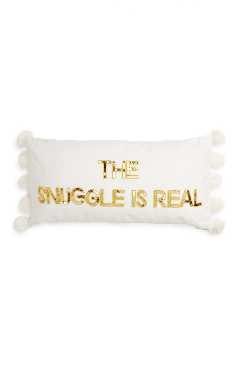 BOW & DRAPE Snuggle is Real Acccent Pillow, Main, color, 100
