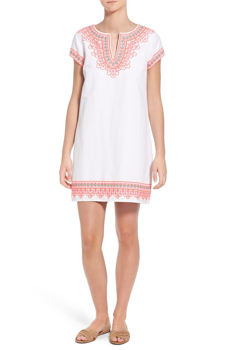 VINEYARD VINES 'Island' Embroidered Cotton & Linen Tunic Dress, Main, color, 100