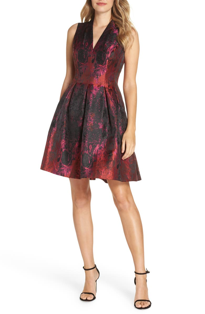 VINCE CAMUTO Jacquard Fit & Flare Dress, Main, color, PINK MULTI