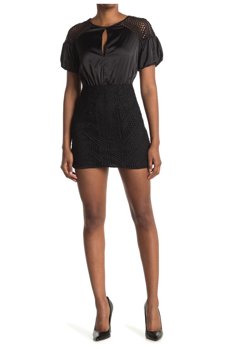 DO AND BE Satin & Crochet Puff Sleeve Dress, Main, color, BLACK