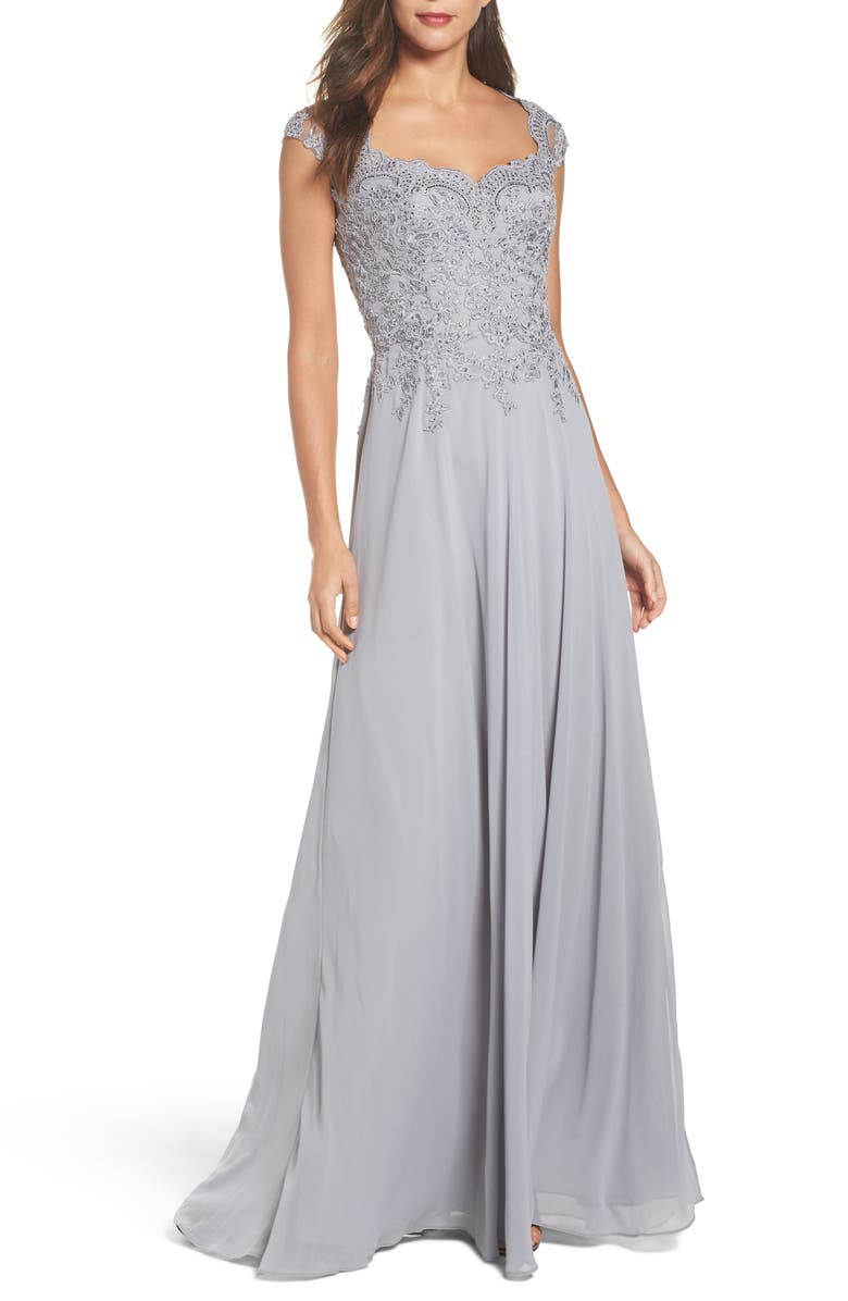 LA FEMME Embellished Cap Sleeve Gown, Main, color, SILVER