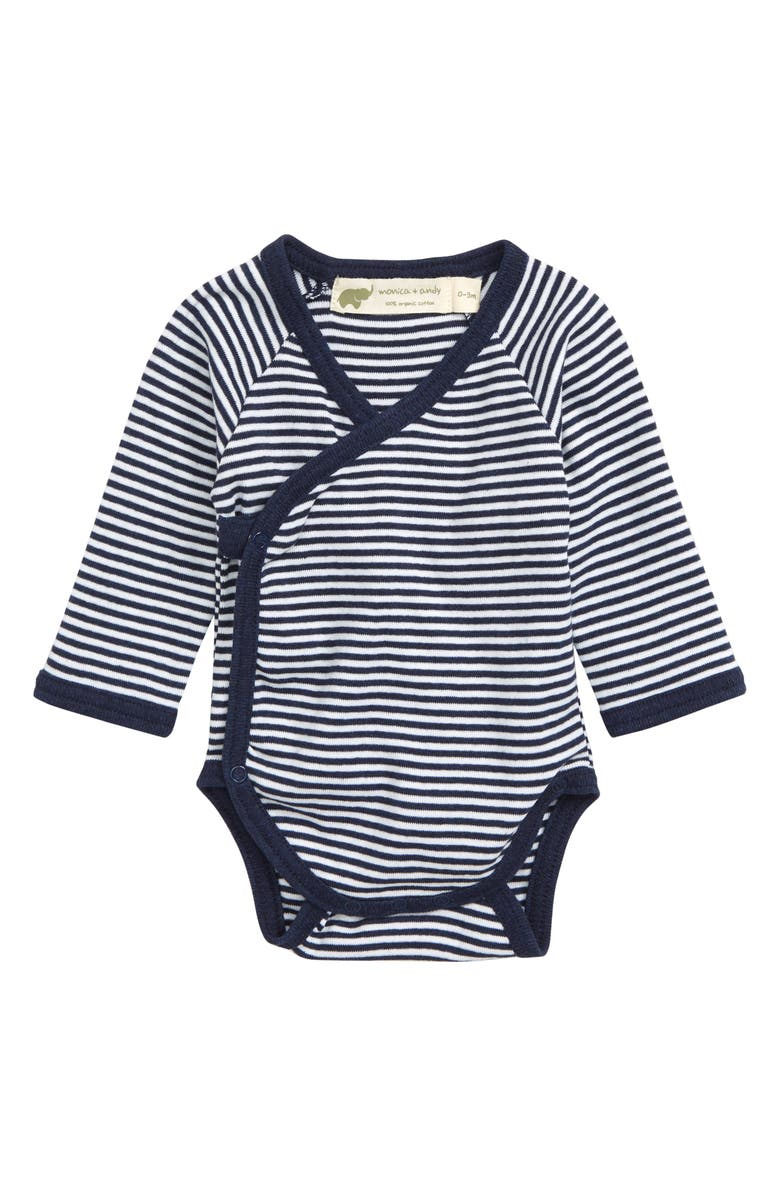 MONICA + ANDY Lucky Stripe Organic Cotton Wrap Bodysuit, Main, color, 410