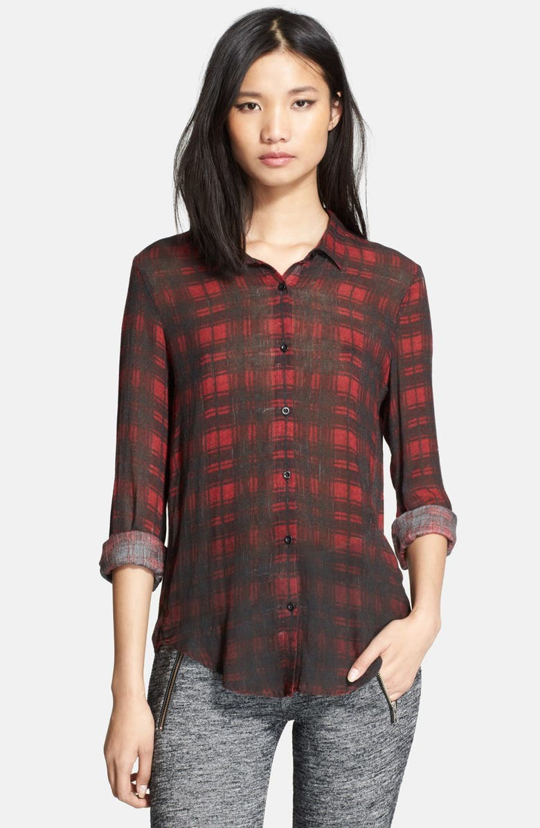 THE KOOPLES SPORT Plaid Print Cotton & Silk Shirt, Main, color, 600