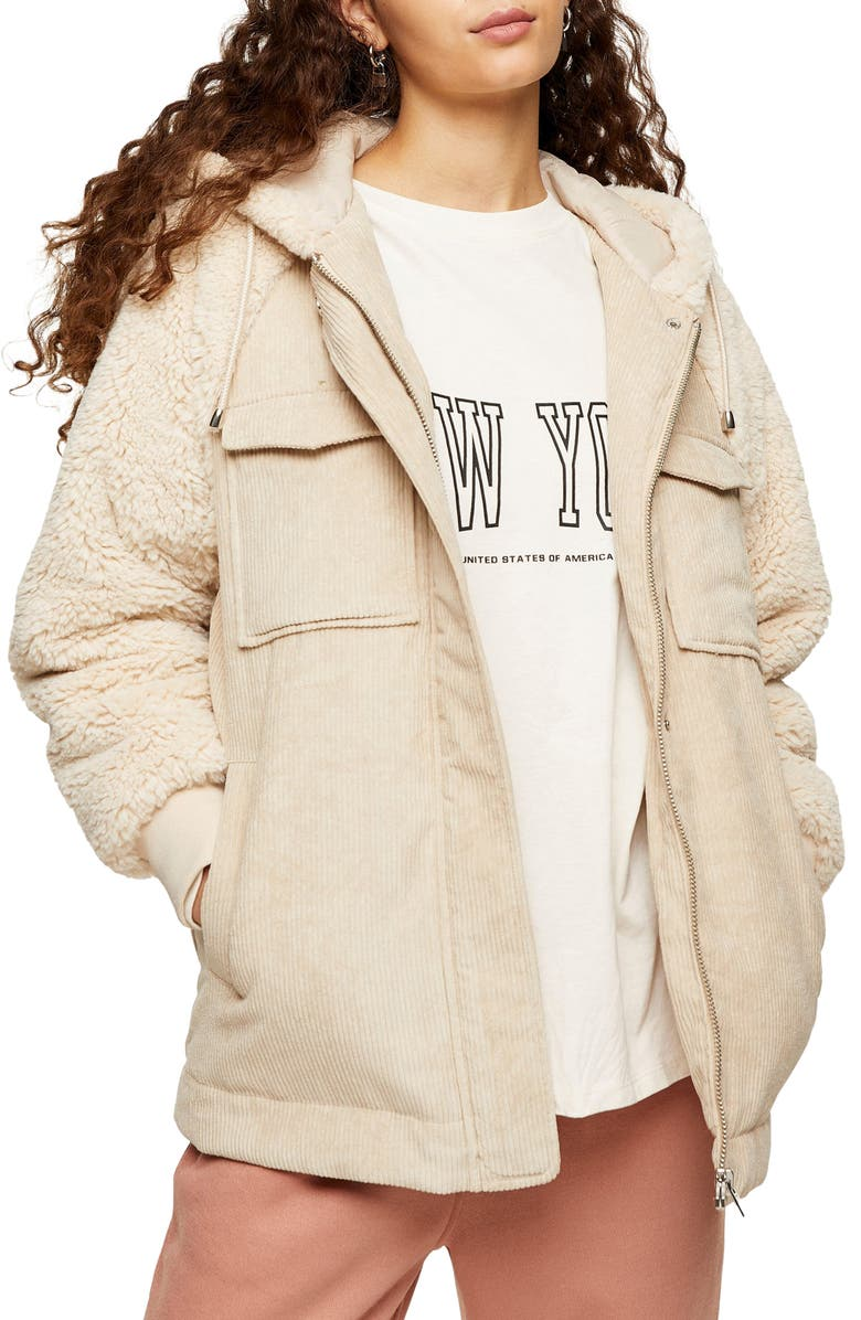TOPSHOP Corduroy & Faux Shearling Hooded Jacket, Main, color, CREAM