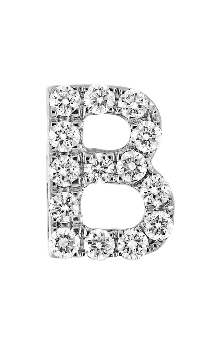 BONY LEVY Single Initial Earring, Main, color, WHITE GOLD/ B