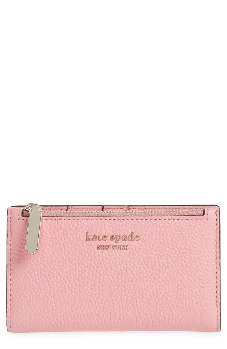 KATE SPADE NEW YORK bradley pebbled leather wallet, Main, color, ROCOCO PINK