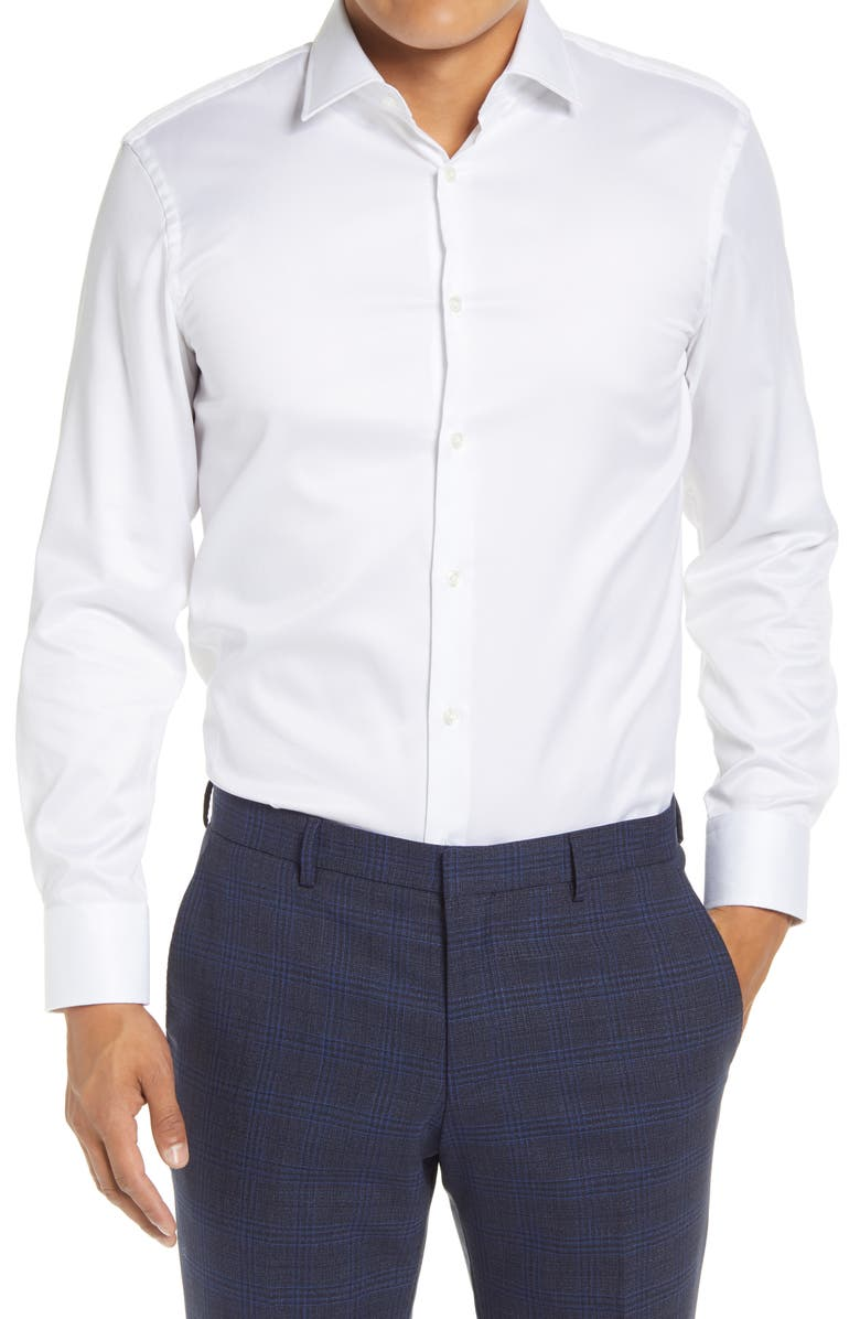 BOSS Marley Slim Fit Easy Iron Solid Dress Shirt, Main, color, WHITE