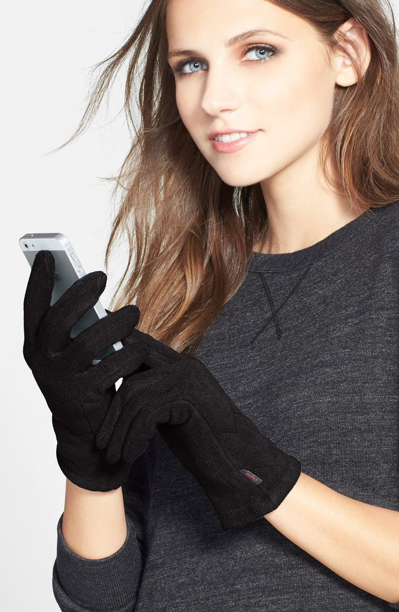 ECHO 'Touch Milk' Quilted Gloves, Main, color, Black