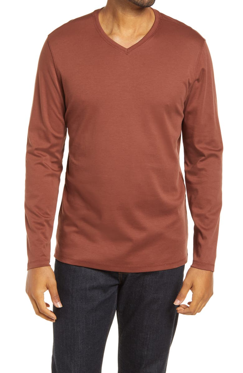 ROBERT BARAKETT Georgia Long Sleeve V-Neck T-Shirt, Main, color, RUST