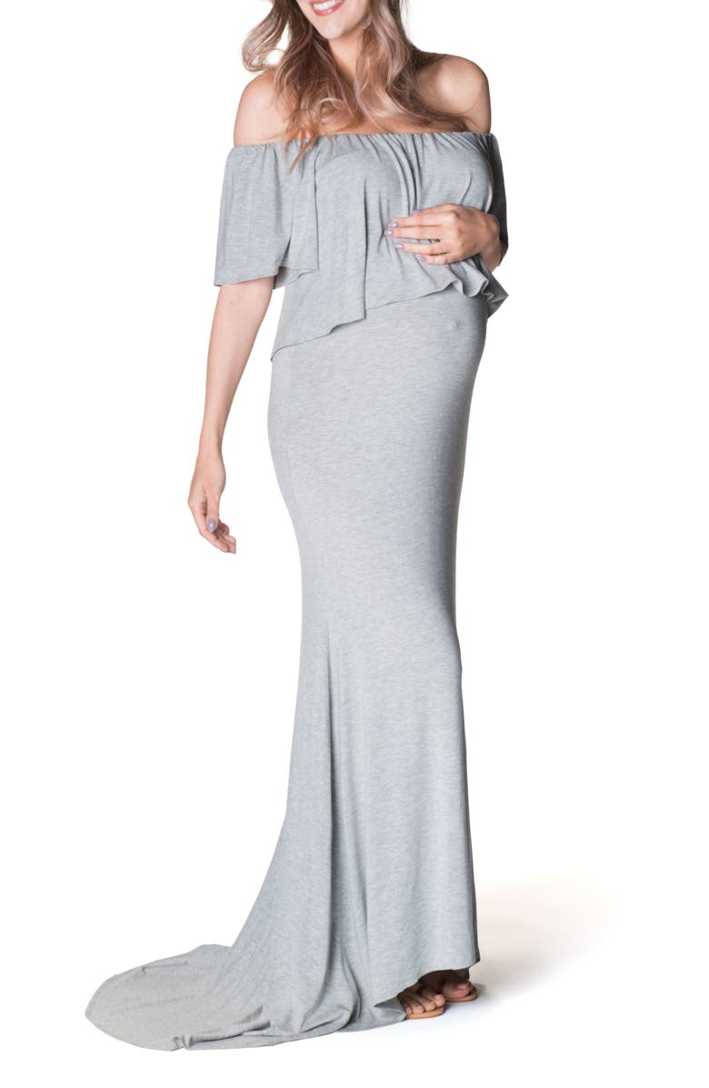 BUN MATERNITY Simply Stunning Off the Shoulder Maternity Maxi Dress, Main, color, HEATHER GRAY