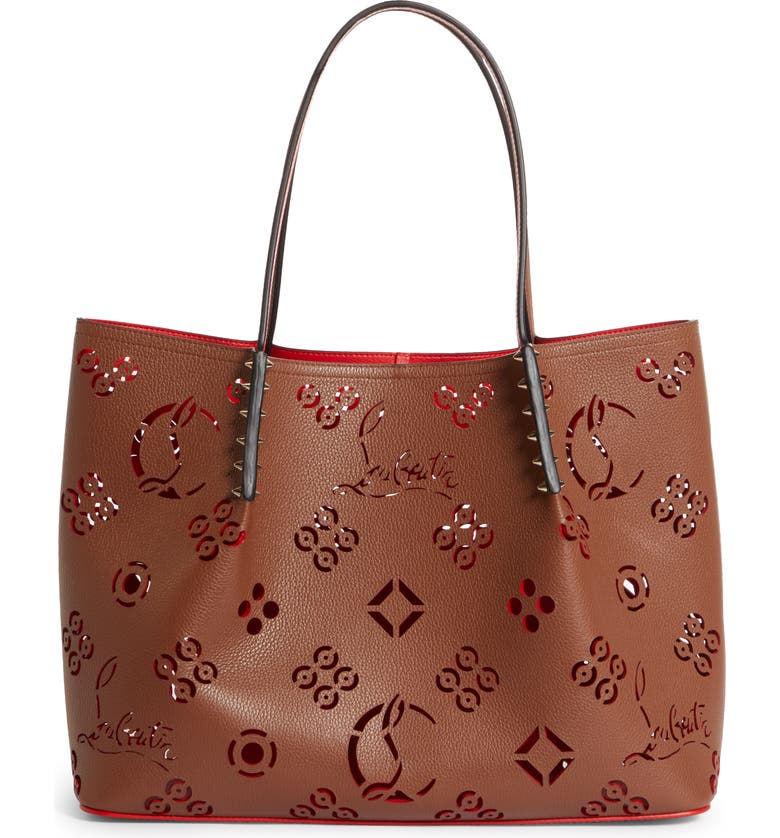 CHRISTIAN LOUBOUTIN Large Cabarock Loubinthesky Perforated Leather Tote, Main, color, BISCOTTO-LOUBI/ BISCOTTO