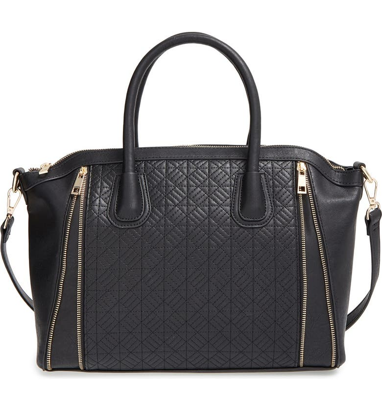 BP. Quilted Satchel, Main, color, BLACK/ GOLD