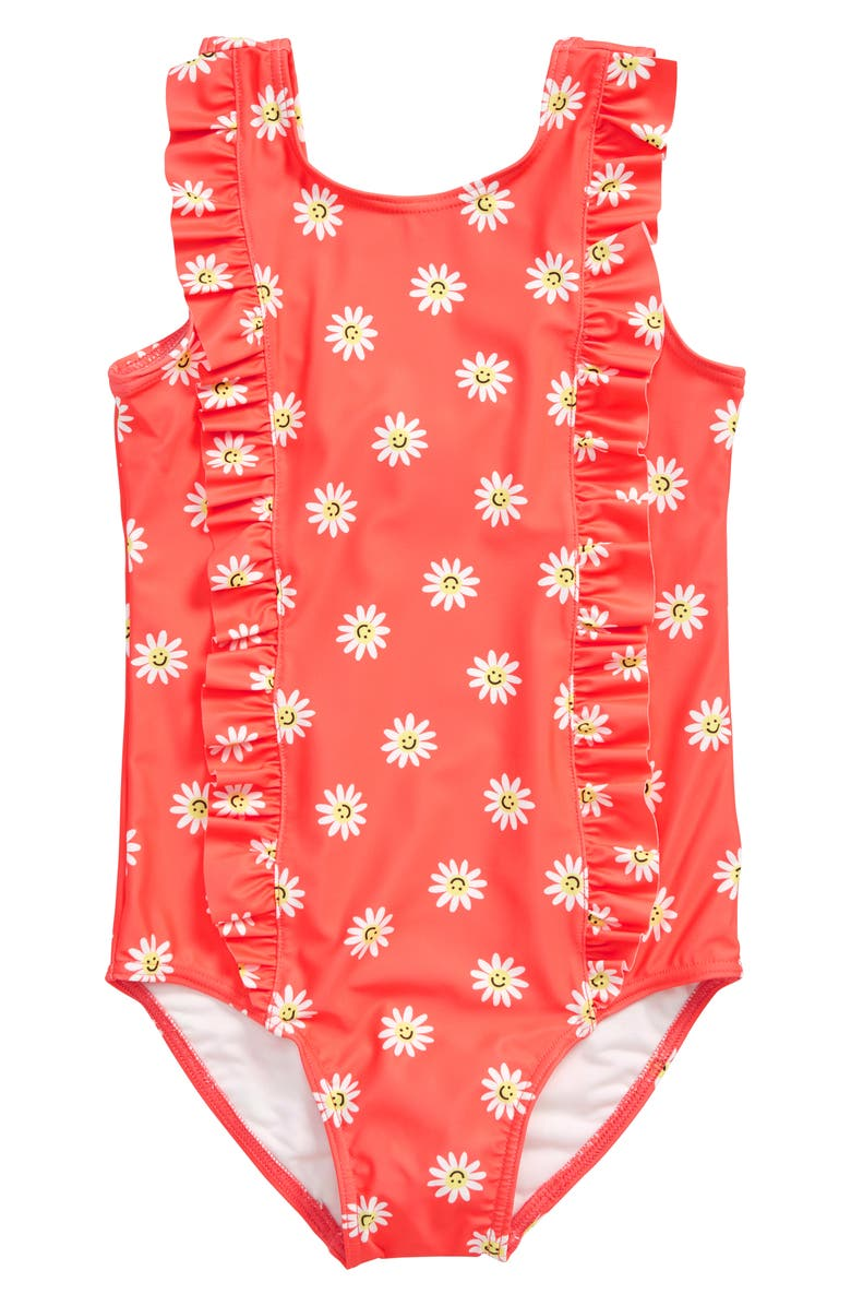 TUCKER + TATE Ruffle One-Piece Swimsuit, Main, color, CORAL GLOW SMILING DAISIES