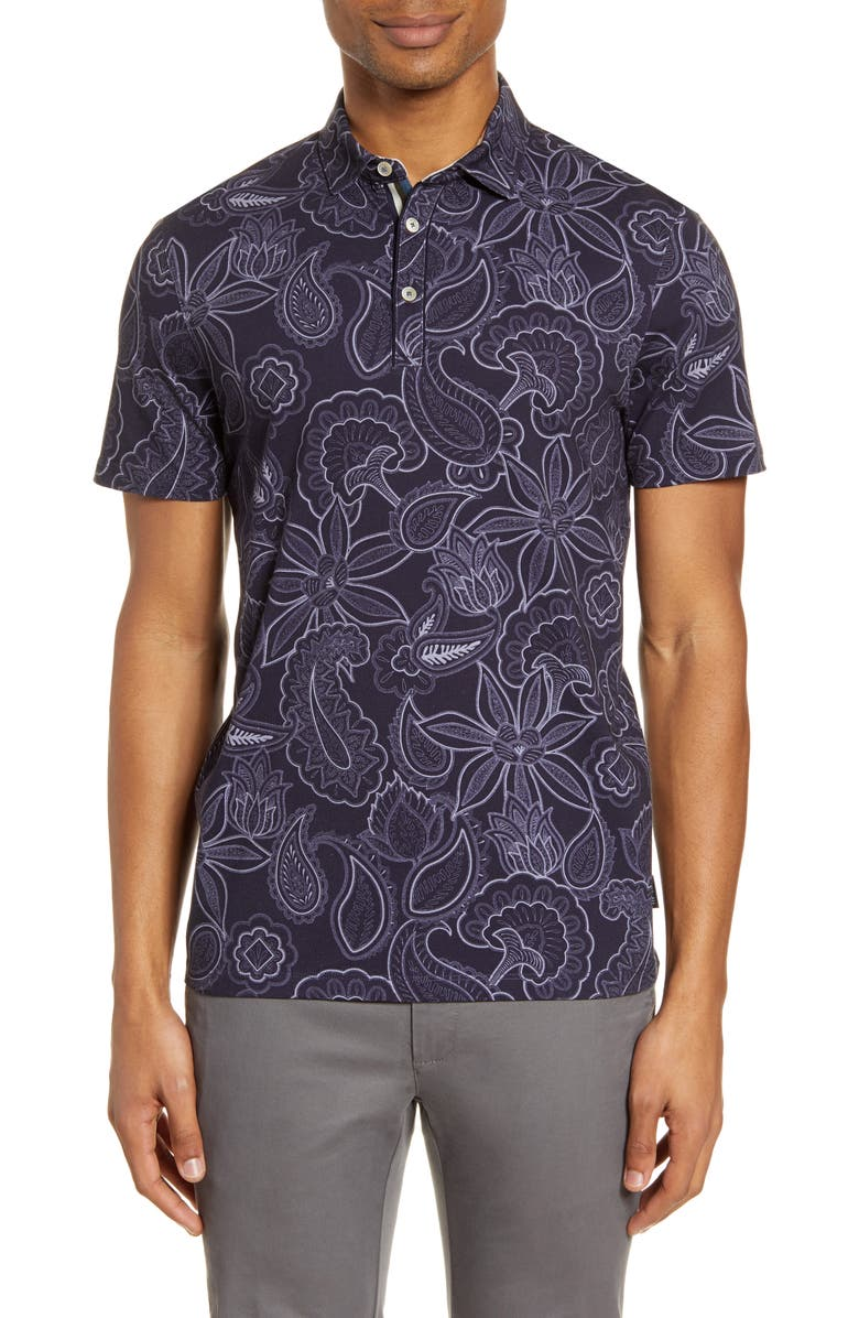 TED BAKER LONDON Fright Floral Polo, Main, color, 410