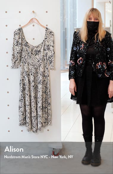 Elbow Sleeve Paisley Crepe Dress, sales video thumbnail