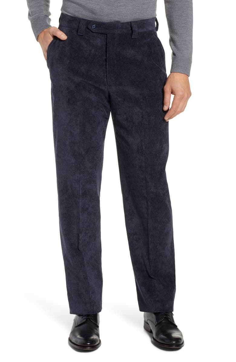 BERLE Classic Fit Flat Front Corduroy Trousers, Main, color, NAVY