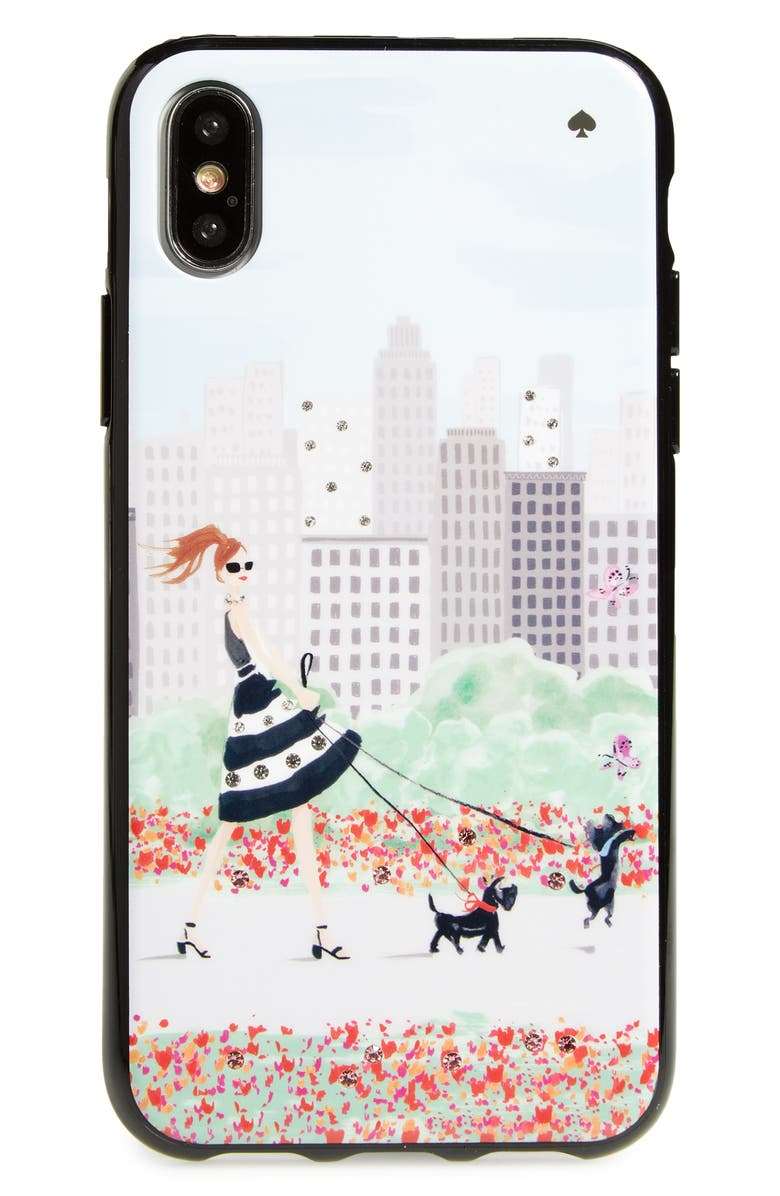 KATE SPADE NEW YORK jeweled shopper iPhone X/Xs case, Main, color, MULTI