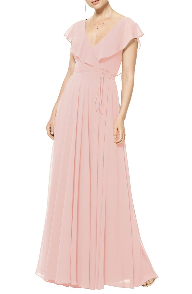 #LEVKOFF Ruffle V-Neck Wrap Gown, Main, color, FROST ROSE