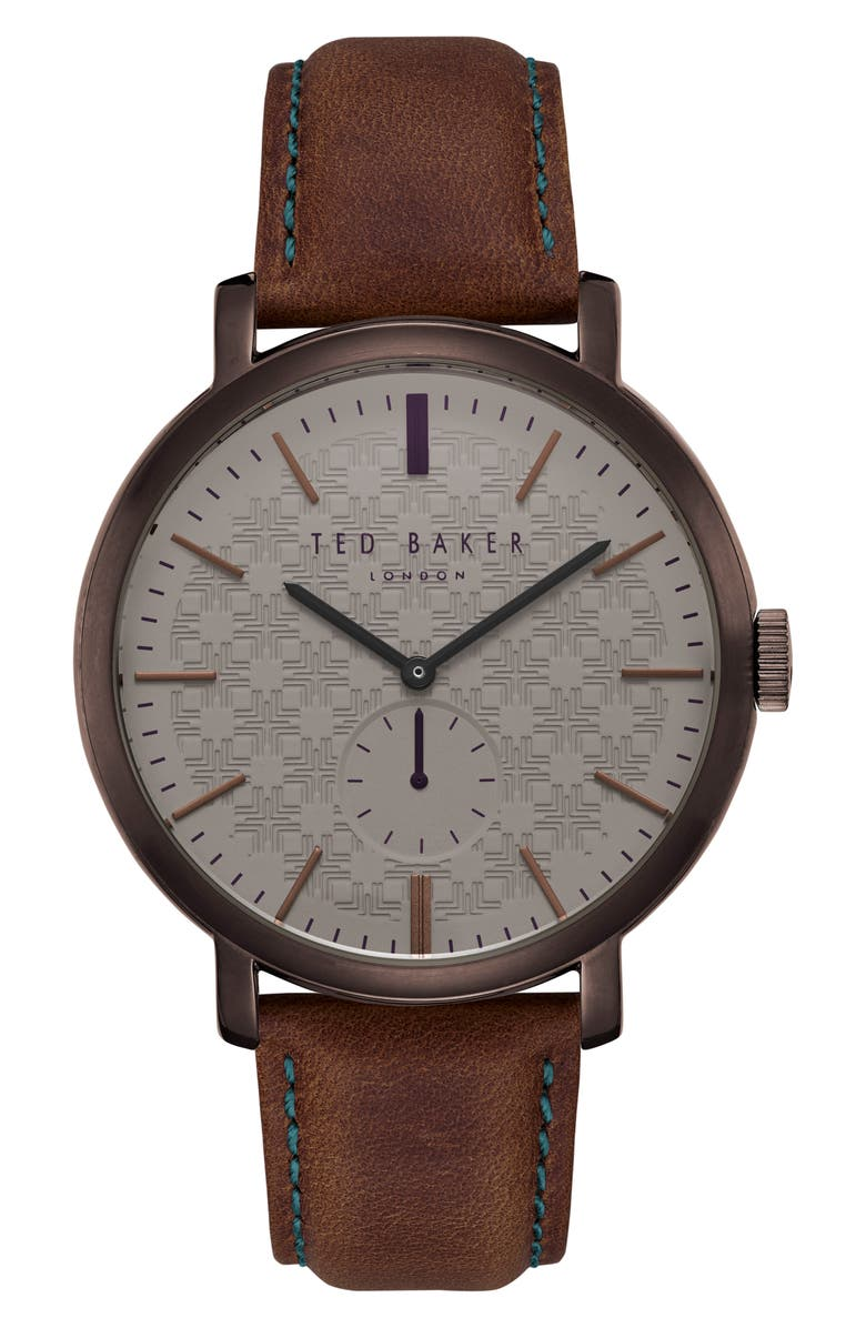 TED BAKER LONDON Trent Leather Strap Watch, 44mm, Main, color, BROWN/ DARK BROWN