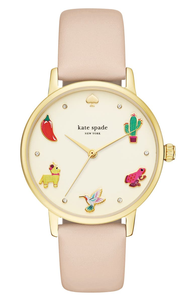 KATE SPADE NEW YORK metro novelty leather strap watch, 34mm, Main, color, BEIGE/ GOLD