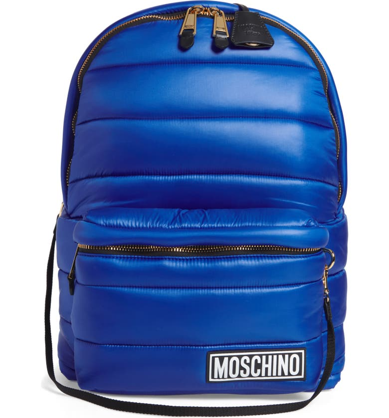 MOSCHINO Puffer Backpack with Hood, Main, color, BLUE