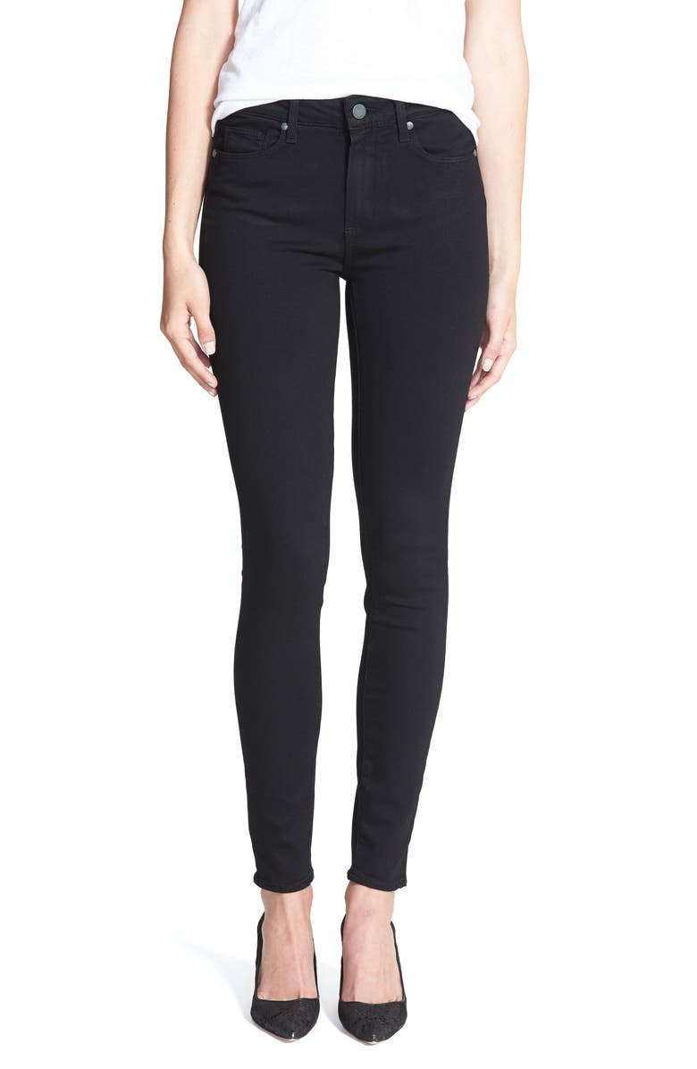 PAIGE Transcend - Hoxton High Waist Ultra Skinny Stretch Jeans, Main, color, BLACK SHADOW