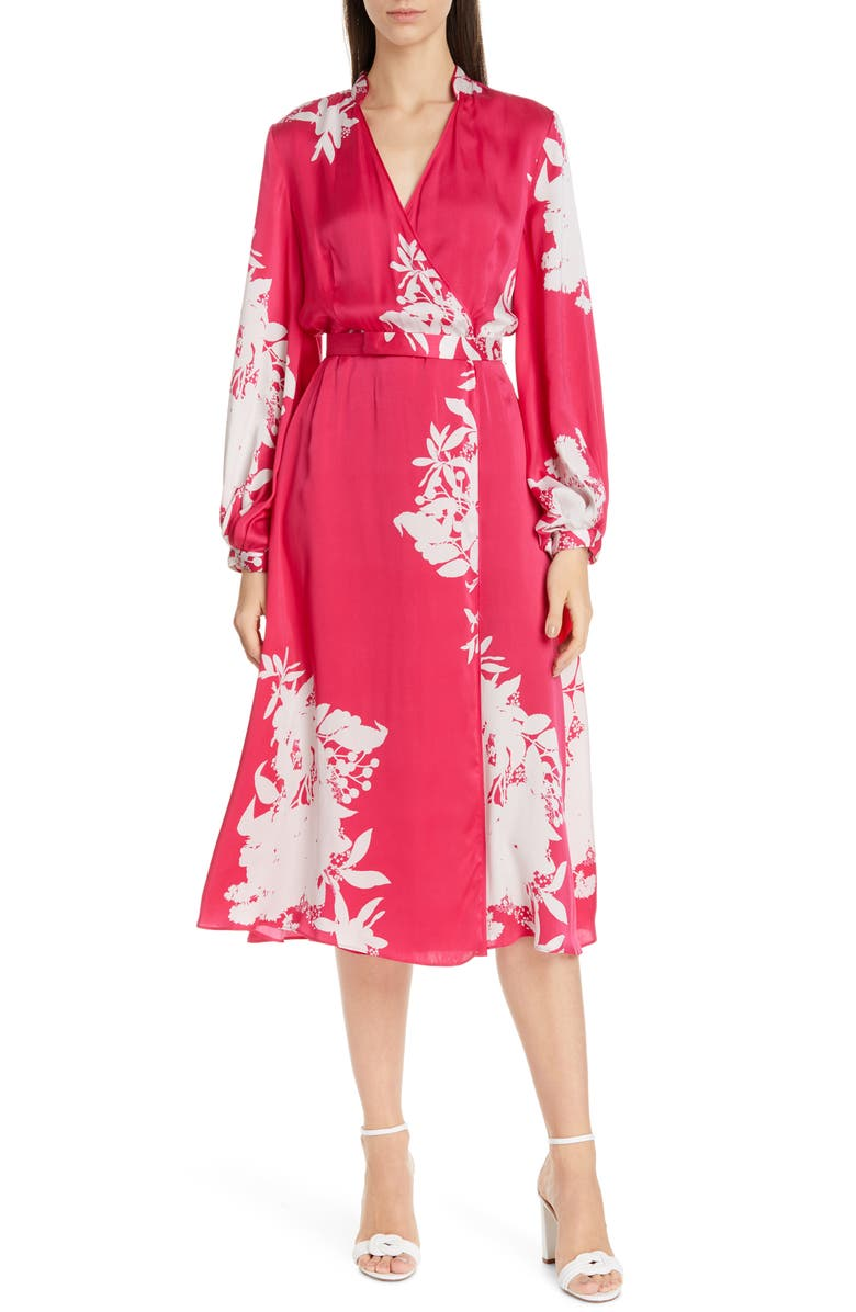 EQUIPMENT Andrese Silk Blend Wrap Long Sleeve Dress, Main, color, 600